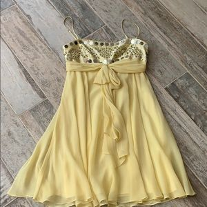 BCBG yellow spaghetti strap cocktail dress